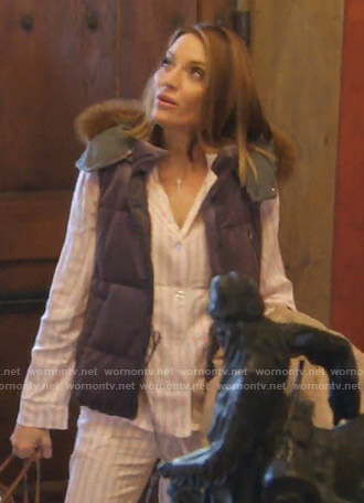 Cary's grey puffer vest on The Real Housewives of Dallas