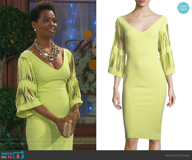 Hali V-Neck Cutout-Sleeve Dress by Chiara Boni La Petite Robe worn by Valerie Grant (Vanessa Williams) on Days of our Lives