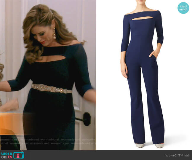 Katiuscia Jumpsuit by Chiara Boni La Petite Robe worn by Emily Simpson on The Real Housewives of Orange County