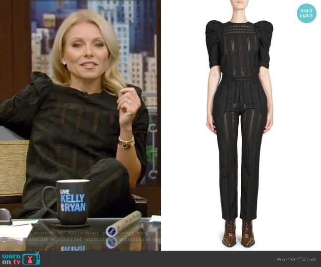 Embroidered Puff-Sleeve Top and Embroidered Trousers worn by Kelly Ripa  on Live with Kelly & Ryan
