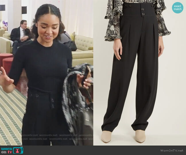High-waist wide-leg crepe trousers by Chloe worn by Kat Edison (Aisha Dee) on The Bold Type