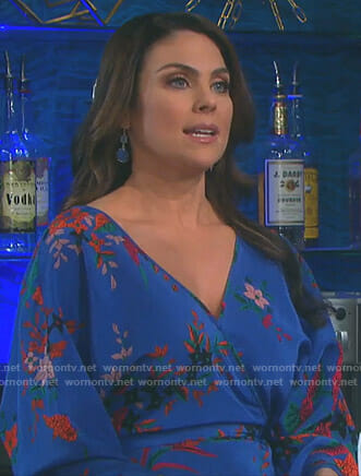 Chloe's blue floral wrap dress on Days of our Lives