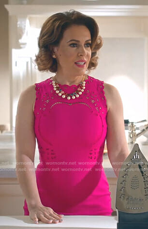 Coralee's pink embroidered dress on Insatiable