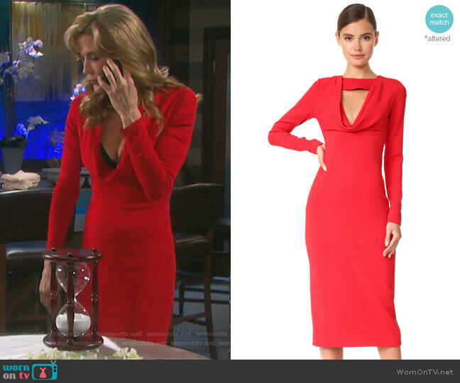 Pencil Dress with Cowl by Cushnie Et Ochs worn by Stacy Haiduk on Days of our Lives