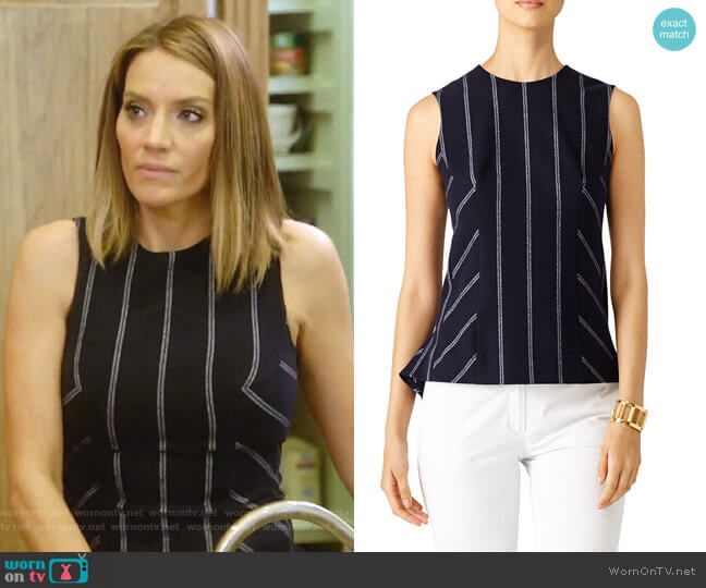 Pinstripe Shell Top by Derek Lam 10 Crosby worn by Cary Deuber on The Real Housewives of Dallas