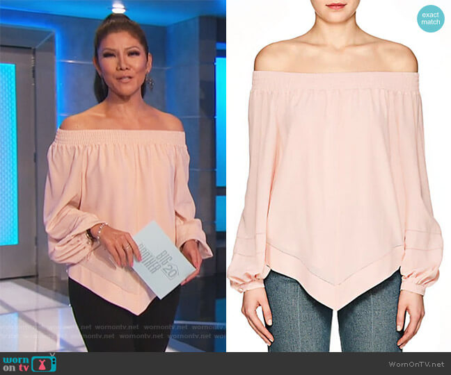Silk Crepe Off-The-Shoulder Blouse by Derek Lam worn by Julie Chen on Big Brother