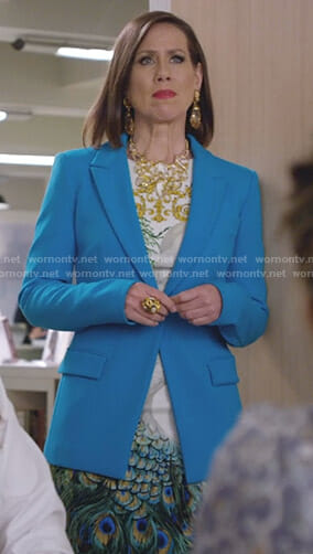 Diana's peacock print dress and blue blazer on Younger