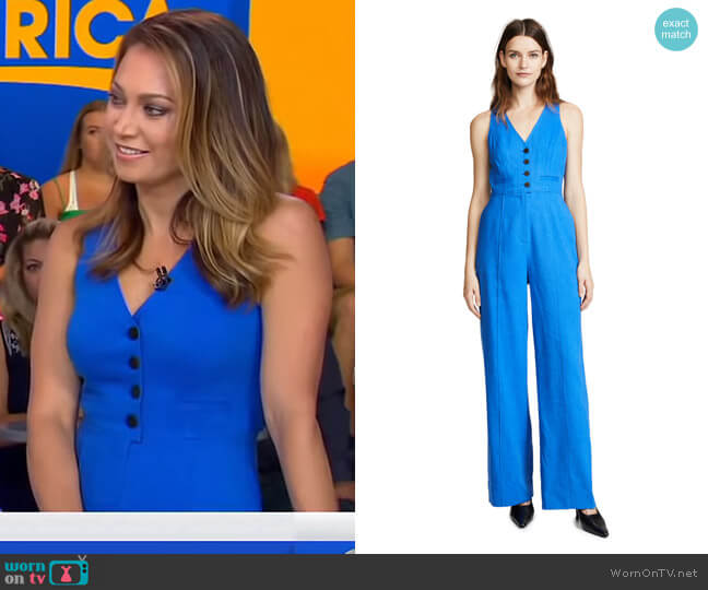 Button Up Jumpsuit by Diane von Furstenberg worn by Ginger Zee (Ginger Zee) on Good Morning America