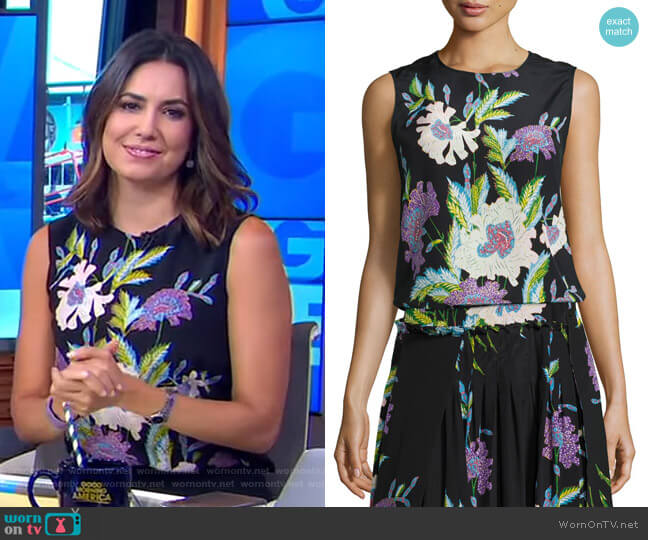 Floral-Print Silk Shell Top by Diane von Furstenberg worn by Cecilia Vega  on Good Morning America