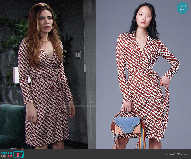 Diane von Furstenberg New Jeanne Two Dress in Chainlink Medium Sienna  worn by Victoria Newman (Amelia Heinle) on The Young & the Restless