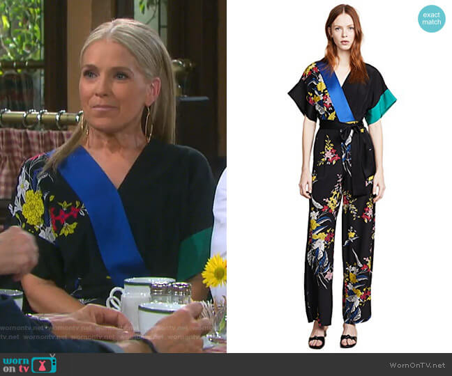 Short Sleeve Jumpsuit by Diane von Furstenberg worn by Jennifer Horton (Melissa Reeves) on Days of our Lives