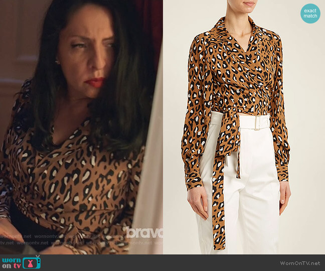 Whitman leopard-print silk blouse by Diane von Furstenberg worn by Camila Vargas (Veronica Falcón) on Queen of the South