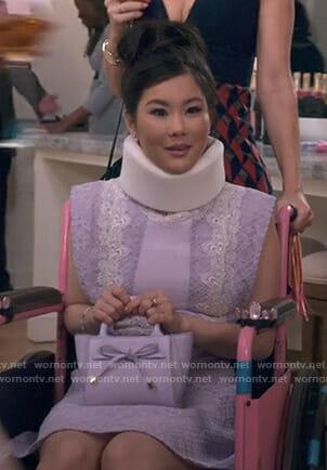 Coralee's blue floral cold shoulder dress on Insatiable