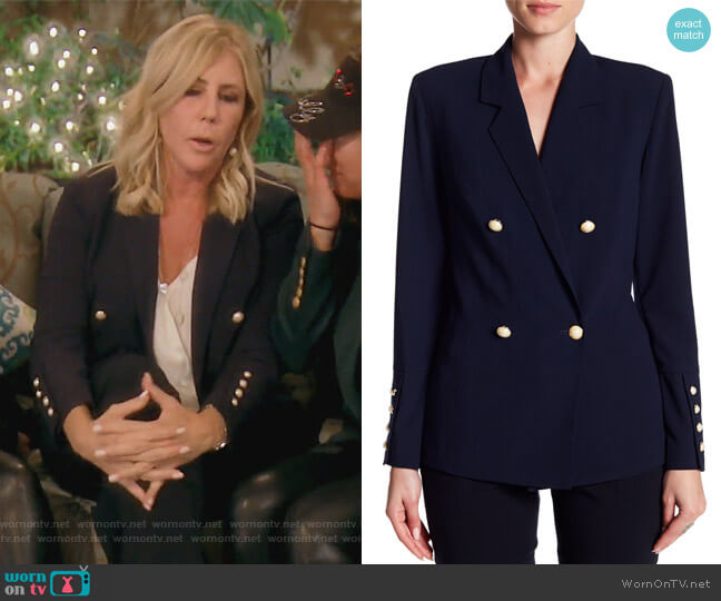 Faux Pearl Button Blazer by Do + Be worn by Vicki Gunvalson on The Real Housewives of Orange County