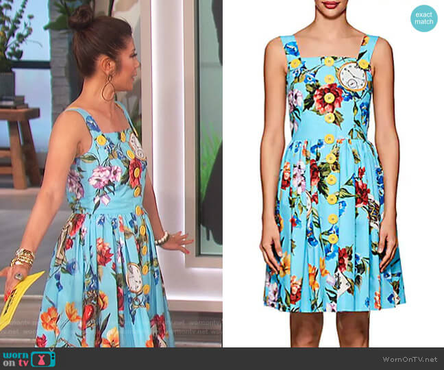 Button-Detail Floral Cotton Poplin Dress by Dolce & Gabbana worn by Julie Chen  on The Talk
