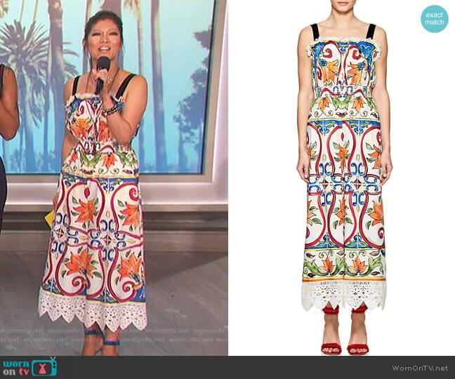 Leopard & Tile-Print Cotton-Blend Poplin Jumpsuit by Dolce & Gabbana worn by Julie Chen  on The Talk
