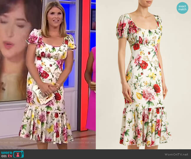 Floral-Print Gathered Midi Dress by Dolce & Gabbana worn by Jenna Bush Hager  on Today