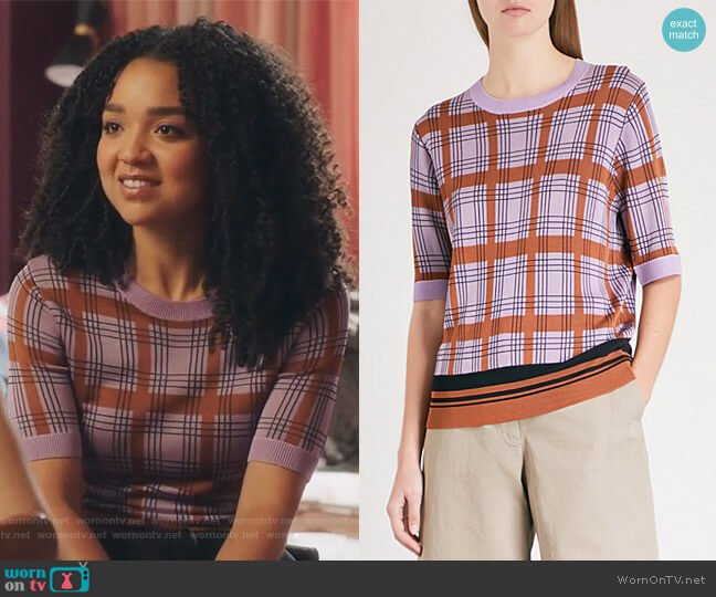 Knitted T-shirt by Dries Van Noten worn by Kat Edison (Aisha Dee) on The Bold Type