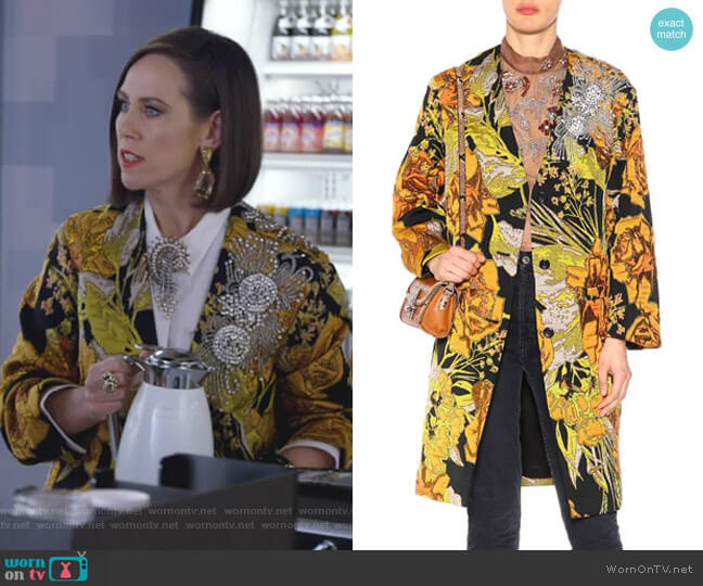 Embellished Floral Coat by Dries Van Noten worn by Diana Trout (Miriam Shor) on Younger