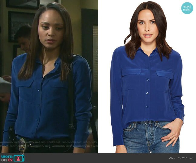 Slim Signature Blouse by Equipment worn by Sal Stowers on Days of our Lives