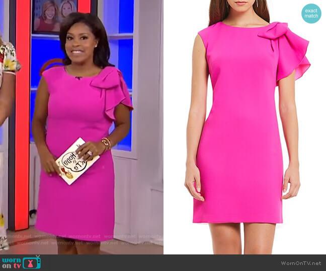 Ruffle Shoulder Shift Dress by Eliza J worn by Sheinelle Jones on Today