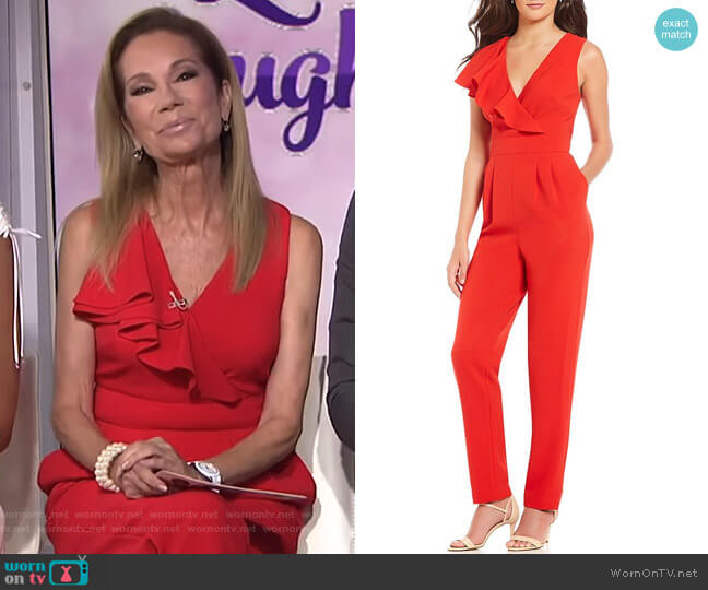 V Neck Ruffle Jumpsuit by Eliza J worn by Kathie Lee Gifford (Kathie Lee Gifford) on Today