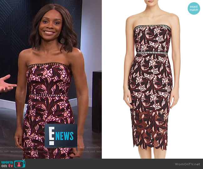 Strapless Lace Midi Dress by Elliatt worn by Zuri Hall on E! News