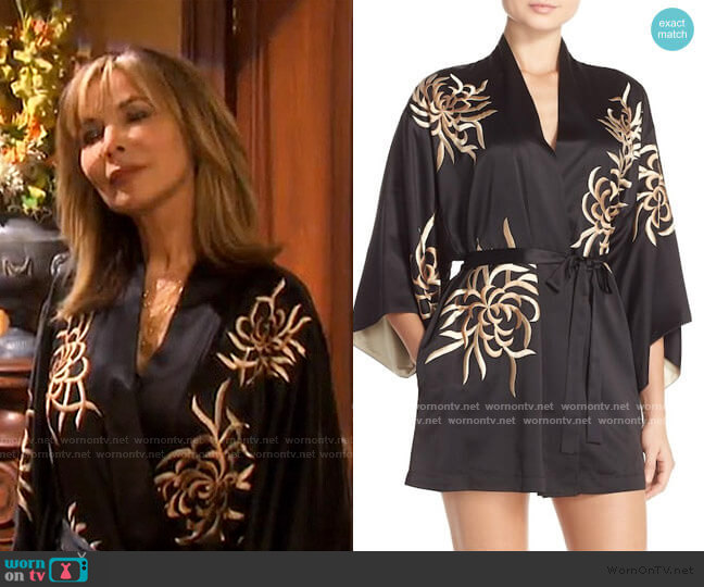 'Empress' Embroidered Charmeuse Robe by Natori worn by Kate Roberts (Lauren Koslow) on Days of our Lives