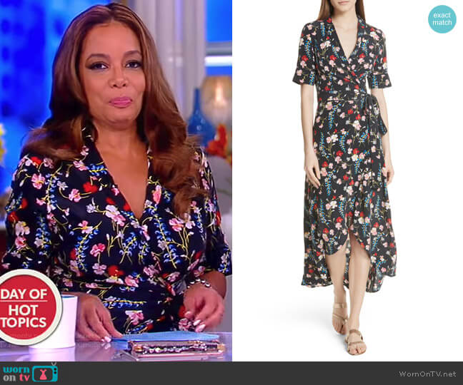Imogene Floral Silk Wrap Dress by Equipment worn by Sunny Hostin on The View