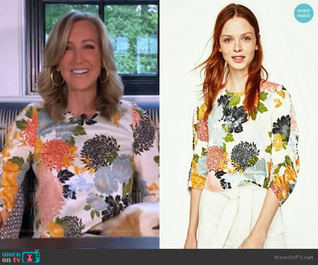 Floral Print Top by Zara worn by Lara Spencer  on Good Morning America