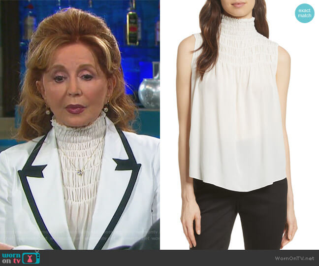 Smocked Sleeveless Silk Blouse by Frame worn by Maggie Horton (Suzanne Rogers) on Days of our Lives