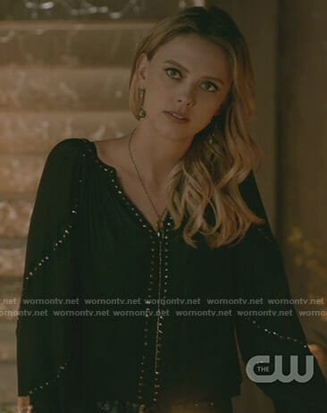 Freya's black embellished blouse on The Originals