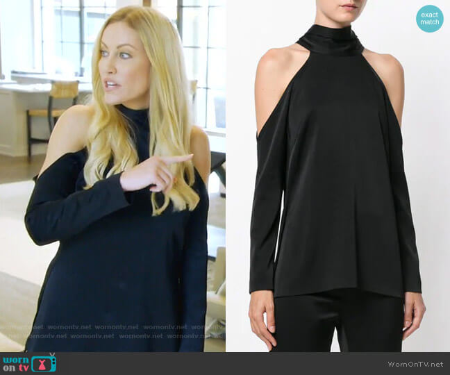 Sash Neck longsleeved Tunic by Galvan worn by Stephanie Hollman (Stephanie Hollman) on The Real Housewives of Dallas