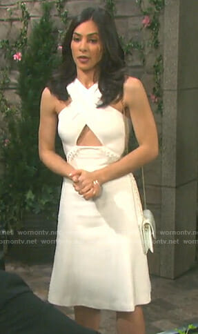 Gabi's white cross front dress on Days of our Lives
