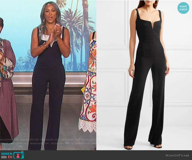 Signature Corset crepe jumpsuit by Galvan worn by Eve  on The Talk