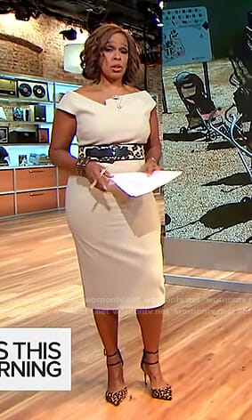 Gayle's beige sheath dress on CBS This Morning