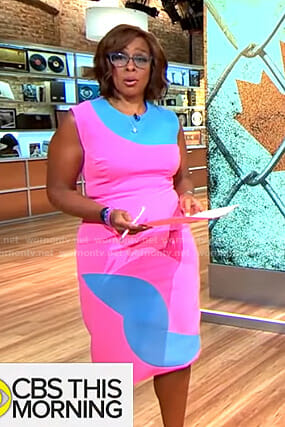 Gayle's pink and blue colorblock dress on CBS This Morning