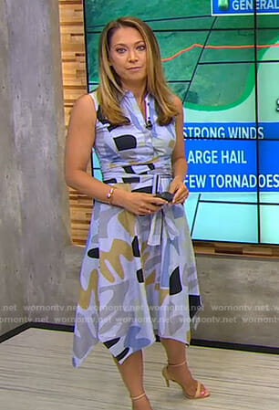 Ginger's blue striped printed shirtdress on Good Morning America