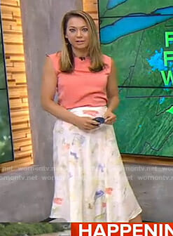 Ginger's orange sleeveless top and floral skirt on Good Morning America