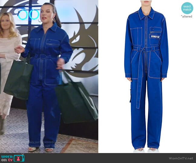 Logo-Embroidered Cotton Band Jumpsuit by Givenchy worn by Maggie (Debi Mazar) on Younger