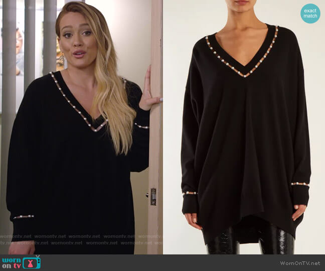 Pearl-Embellished Sweater by Givenchy worn by Kelsey Peters (Hilary Duff) on Younger