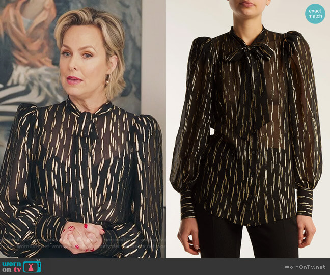 Pussy-bow metallic fil-coupé silk-blend blouse by Givenchy worn by Melora Hardin on The Bold Type