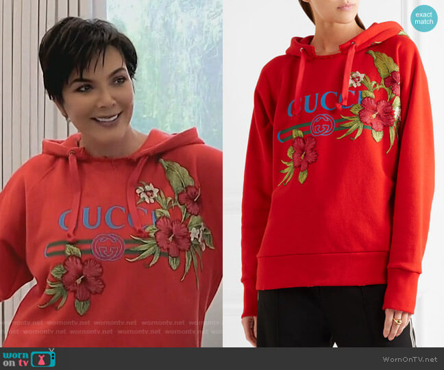 Embroidered printed cotton-jersey hooded top by Gucci worn by Kris Jenner on Keeping Up with the Kardashians