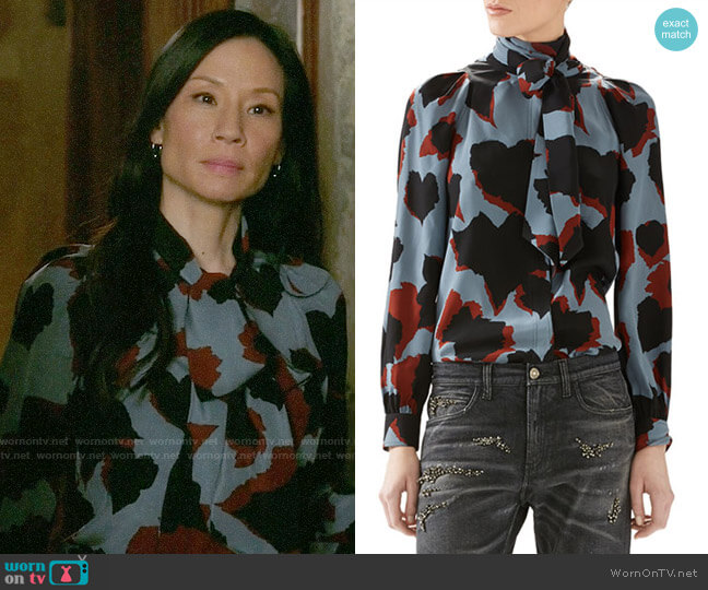 Gucci Leaves Print Silk Shirt worn by Joan Watson (Lucy Liu) on Elementary