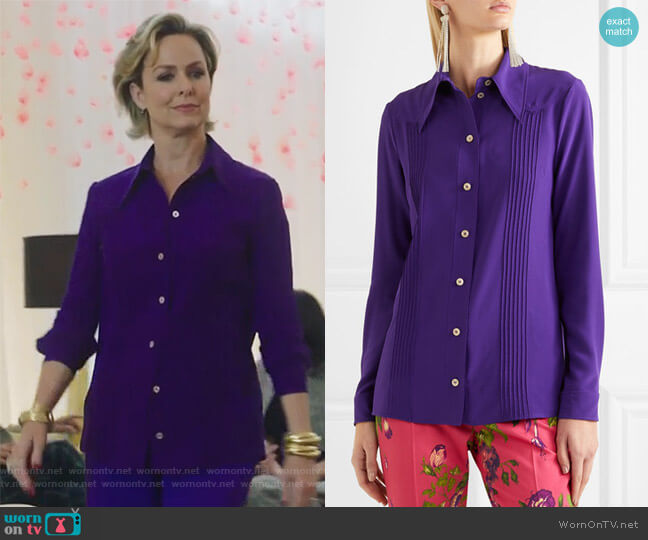Pintucked silk crepe de chine shirt by Gucci worn by Melora Hardin on The Bold Type