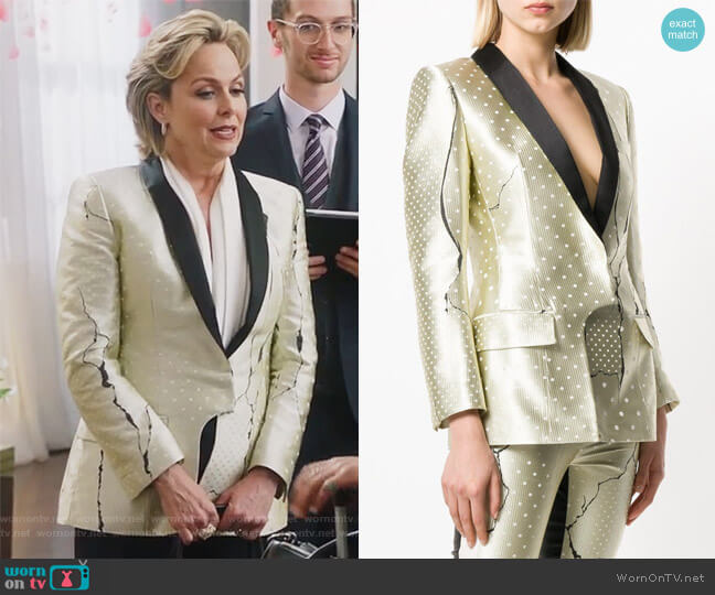 Polka Dot Patterned Blazer by Haider Ackermann worn by Melora Hardin on The Bold Type