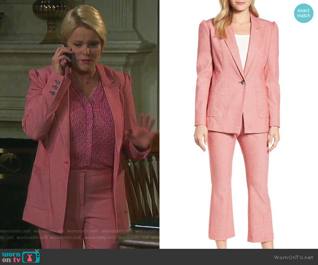 One-Button Blazer and Kick Flare Pants by Halogen worn by Adrienne Johnson Kiriakis (Judi Evans) on Days of our Lives