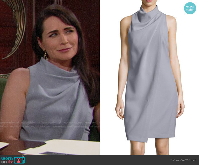 Halston Heritage Sleeveless Mock-Neck Draped-Front Dress worn by Quinn Fuller (Rena Sofer) on The Bold & the Beautiful