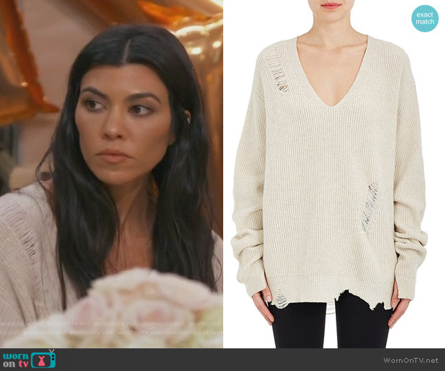 Distressed Wool-Cashmere Oversized Sweater by Helmut Lang worn by Kourtney Kardashian  on Keeping Up with the Kardashians