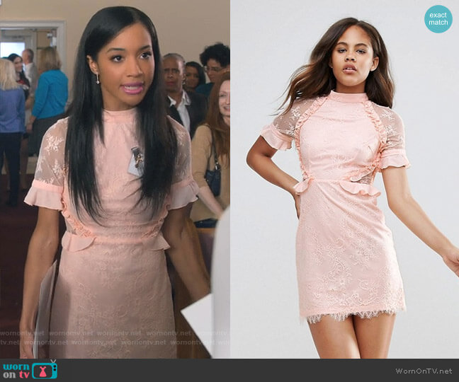 High Neck Dress With Ruffle Detail by Fashion Union worn by Erinn Westbrook on Insatiable